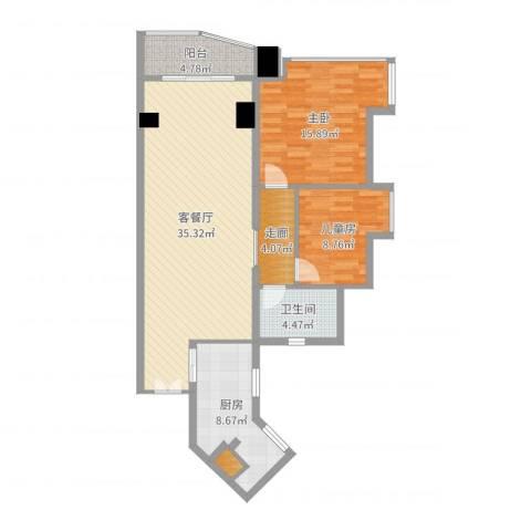 祈福新村迎风阁2室2厅1卫1厨103.00㎡户型图