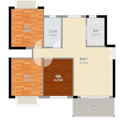 百盈花园3室2厅1卫1厨110.00㎡户型图