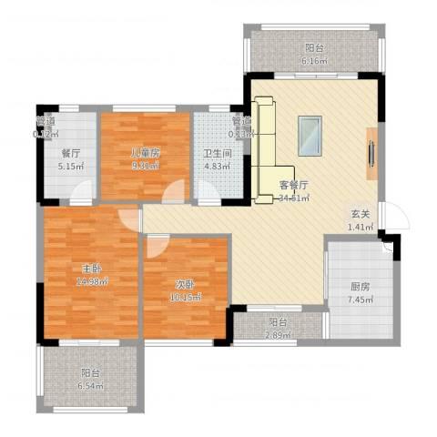 池州碧桂园3室3厅1卫1厨128.00㎡户型图