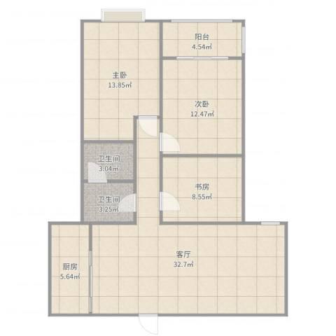 来泉山庄3室1厅2卫1厨105.00㎡户型图