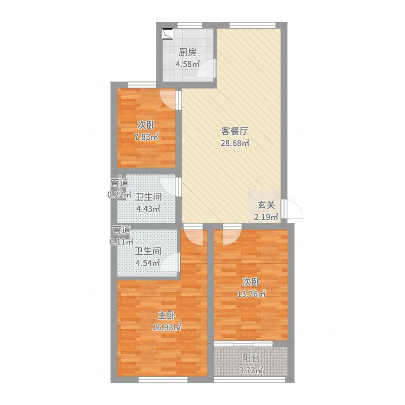 御泽嘉园106.00㎡6户型3室3厅1卫1厨-副本户型图