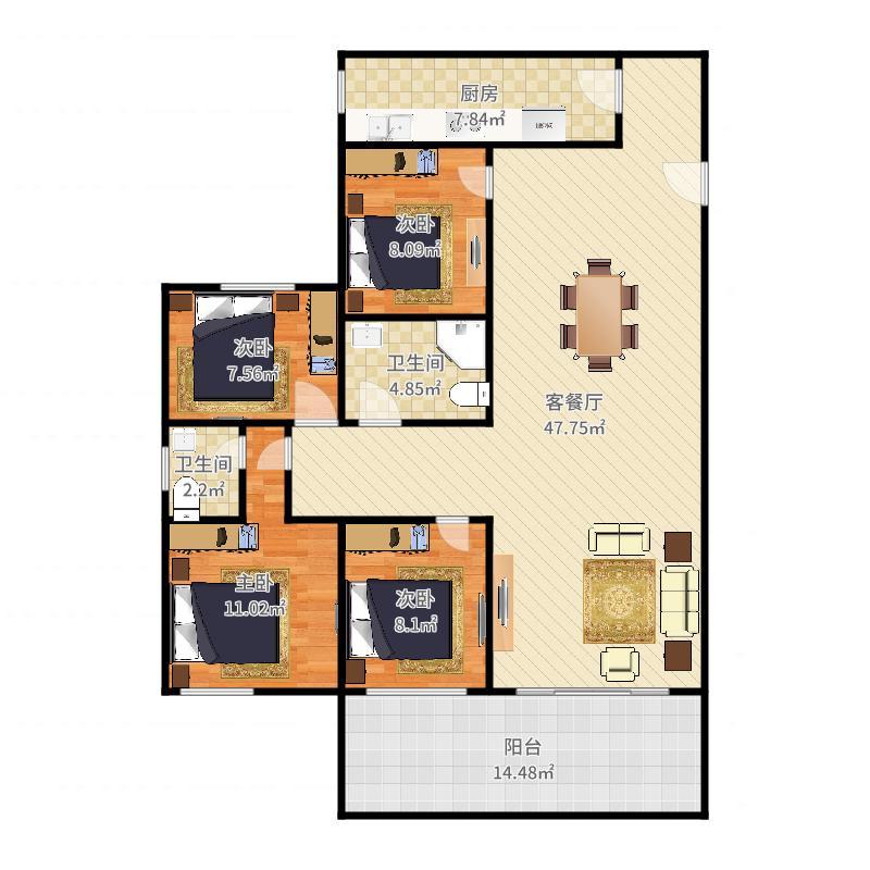 0528+木子+第8套+劲力城市明珠三期+115平+S330455户型图