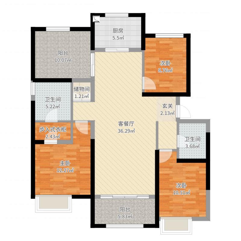 保利香槟国际143.00㎡4#C3户型3室3厅2卫1厨-副本户型图