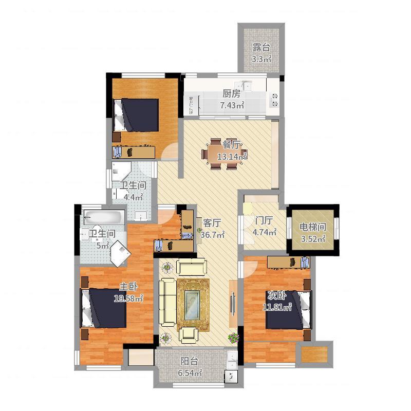 丁山英伦尊邸17幢-副本户型图