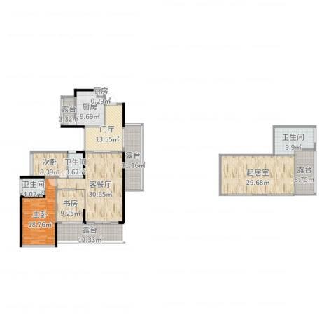 心中公寓3室2厅3卫2厨217.00㎡户型图