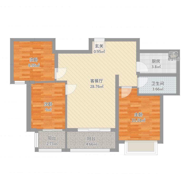 勒泰城4.27㎡C户型2室2厅1卫1厨-副本户型图