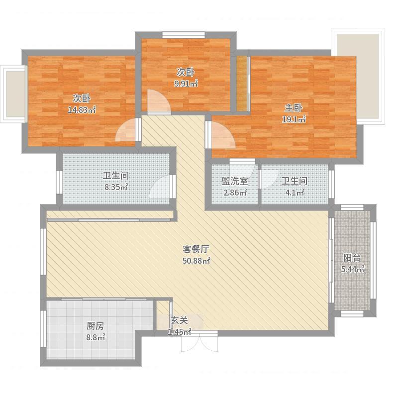 万腾・御景城160.81㎡3#D3户型3室3厅2卫1厨-副本-副本户型图