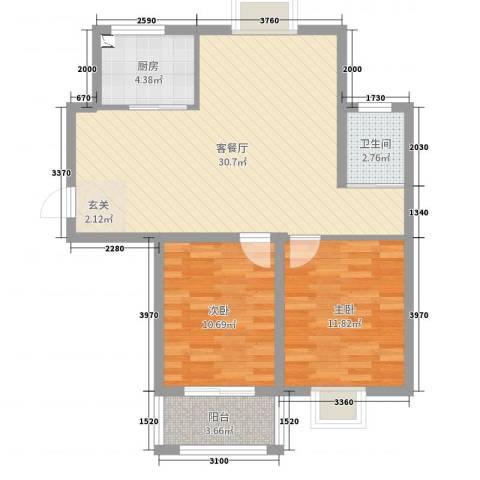 牡丹华庭・上河园2室2厅1卫1厨80.00㎡户型图