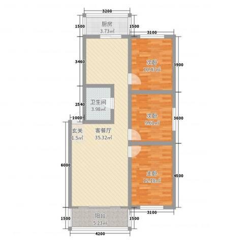 怡甸庄园3室2厅1卫1厨104.00㎡户型图