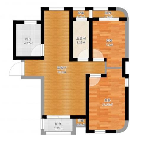 秀水丽苑2室2厅1卫1厨66.00㎡户型图