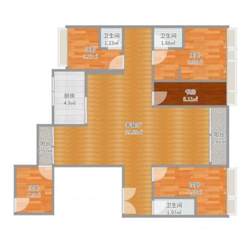 东江湾5室2厅3卫1厨108.00㎡户型图