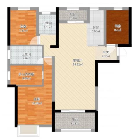 海亮悦府3室2厅2卫0厨100.00㎡户型图