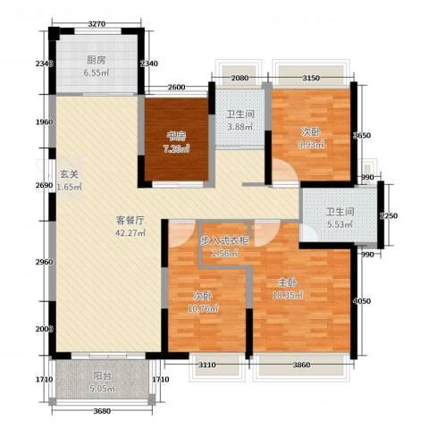中凯银杏湖4室2厅2卫1厨137.00㎡户型图