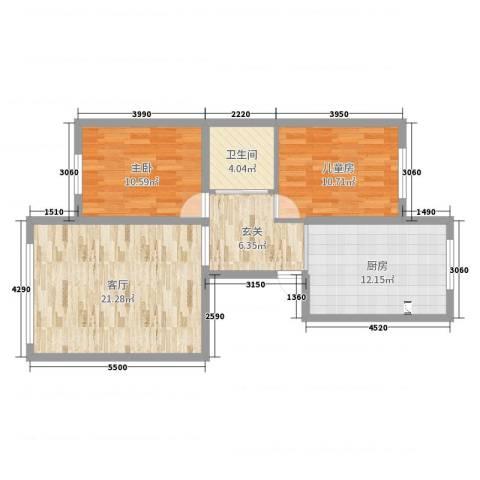 中山家园2室1厅1卫1厨113.00㎡户型图