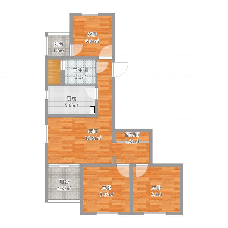 行宫园三里12号楼户型图