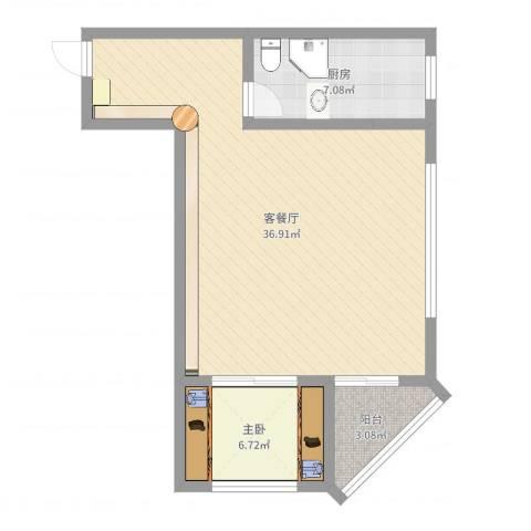 迎泽世纪城1室2厅0卫1厨67.00㎡户型图