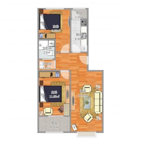 泰河园三里2室1厅2卫1厨70.00㎡户型图