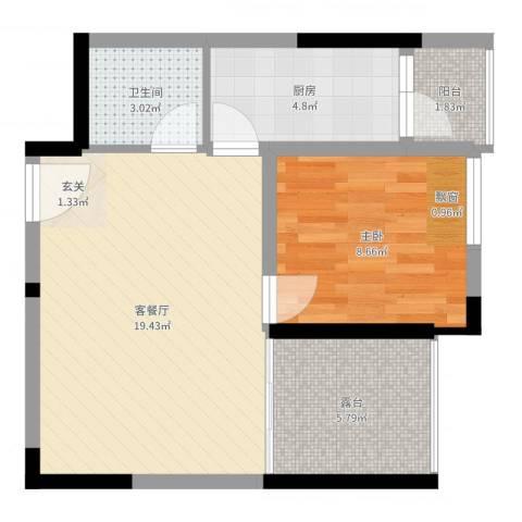绿城新干线1室2厅1卫1厨54.00㎡户型图