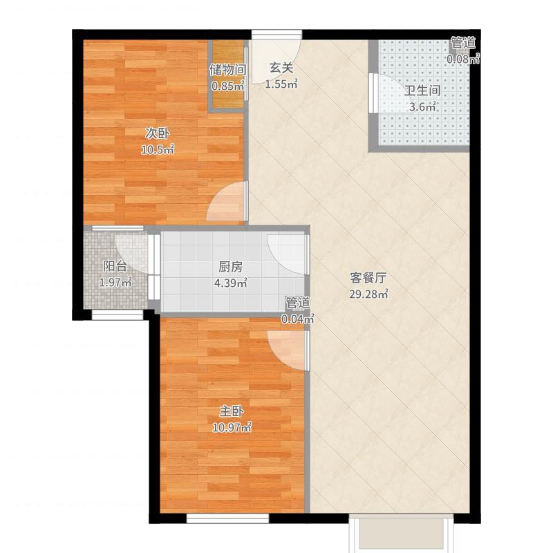 东洲家园-储藏室改小-隐藏冰箱户型图