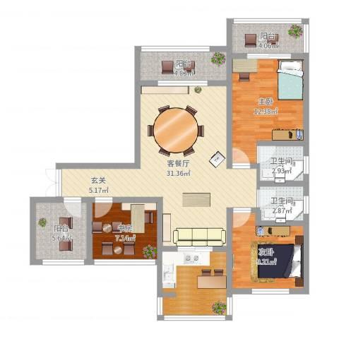 乾基九境城3室2厅2卫0厨110.00㎡户型图