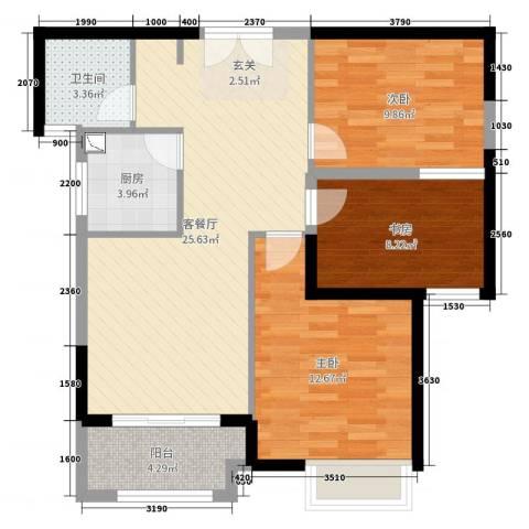 嘉龙尚都3室2厅1卫1厨85.00㎡户型图