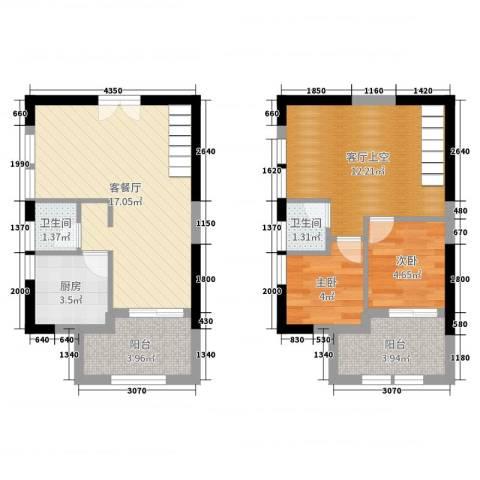嘉龙尚都2室2厅2卫1厨65.00㎡户型图