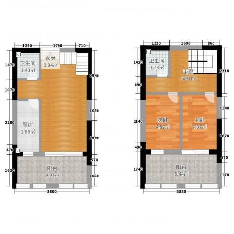 嘉龙尚都2室0厅2卫1厨56.00㎡户型图