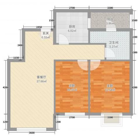 容大印象江南2室2厅1卫1厨84.00㎡户型图
