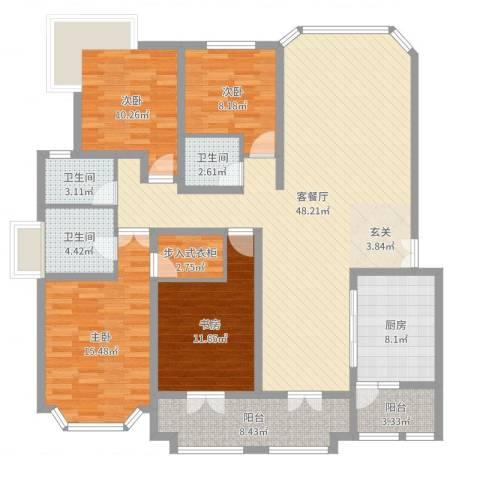 奉贤玫瑰苑4室2厅3卫1厨158.00㎡户型图