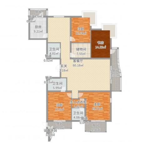 汾河外滩4室2厅3卫1厨225.00㎡户型图