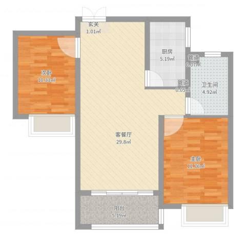 淮海・东城御景2室2厅1卫1厨85.00㎡户型图
