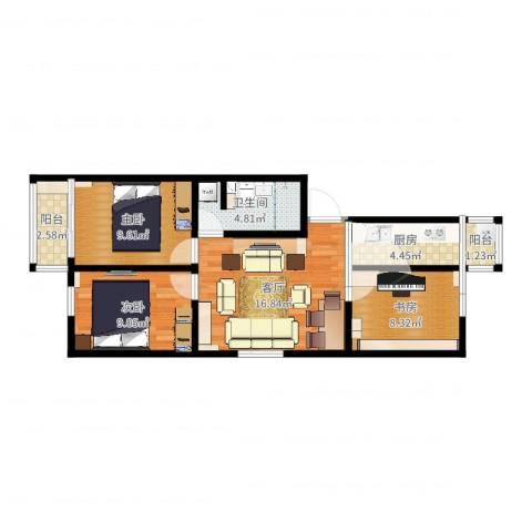 滨河西里北区3室1厅1卫1厨71.00㎡户型图