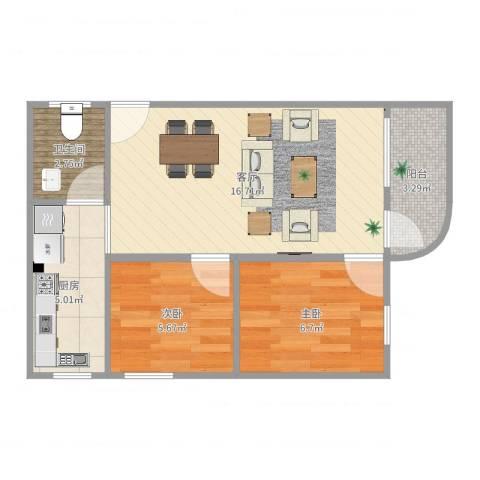 金道花园2室1厅1卫1厨50.00㎡户型图