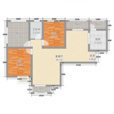 比克橄榄湾2室2厅1卫1厨108.00㎡户型图