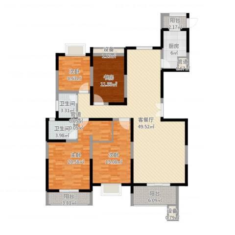 振业泊墅4室2厅2卫1厨166.00㎡户型图