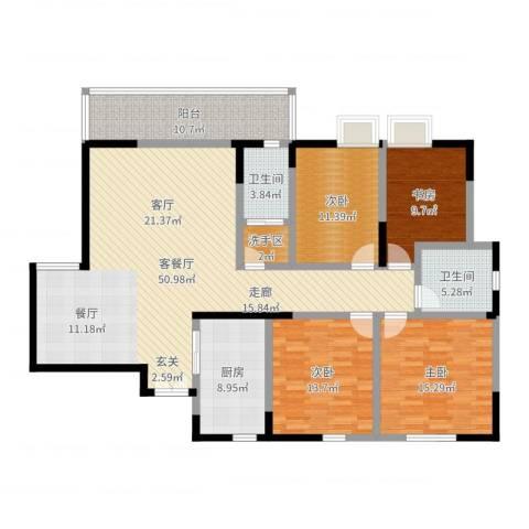 岳屏明珠苑4室2厅2卫1厨165.00㎡户型图