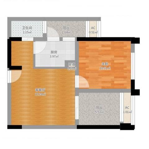 金科蚂蚁SOHO1室2厅1卫1厨54.00㎡户型图