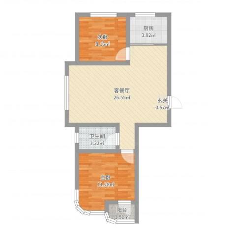 金湖水岸2室2厅1卫1厨68.00㎡户型图