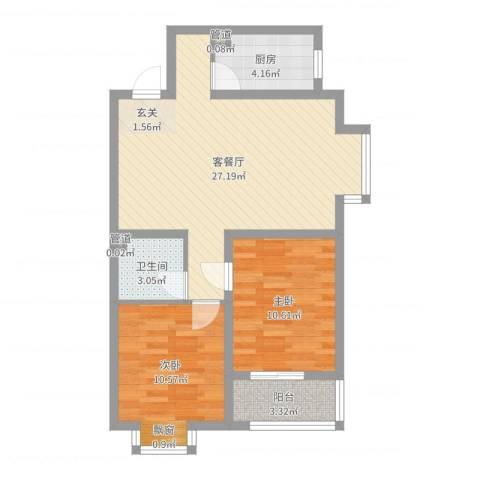 燕大星苑红树湾2室2厅1卫1厨74.00㎡户型图