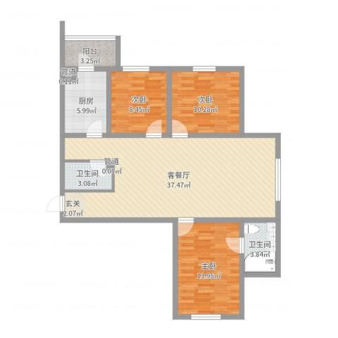 冠芳园二期3室2厅2卫1厨108.00㎡户型图