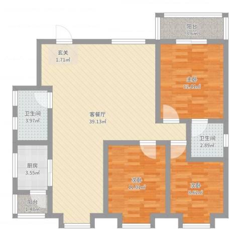中鑫・美景天城3室2厅2卫1厨108.00㎡户型图