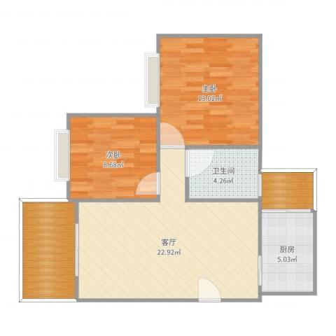 凯茵新城2室1厅1卫1厨78.00㎡户型图