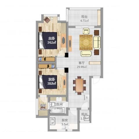 锦绣江南3室1厅1卫1厨92.00㎡户型图