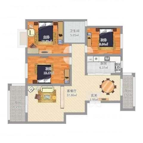 明大凯旋城3室2厅1卫1厨121.00㎡户型图
