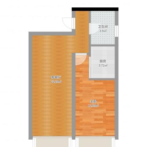 金科蚂蚁SOHO1室2厅1卫1厨53.00㎡户型图