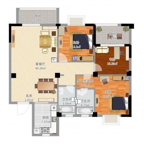 蔚蓝国际3室2厅2卫1厨142.00㎡户型图