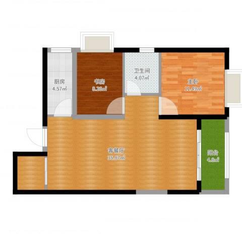 高盛金融中心2室2厅1卫1厨86.00㎡户型图