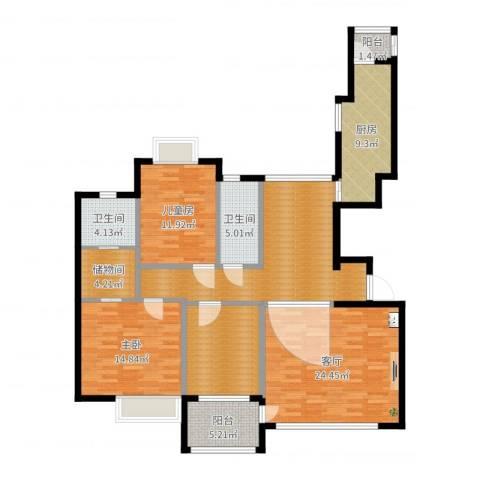金广东海岸二期2室1厅2卫1厨140.00㎡户型图