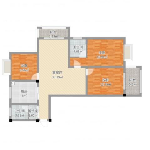幸福华城3室4厅2卫1厨123.00㎡户型图