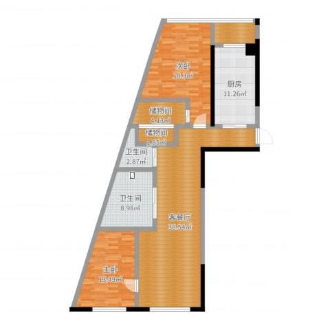 丽水蓝天2室2厅2卫1厨126.00㎡户型图